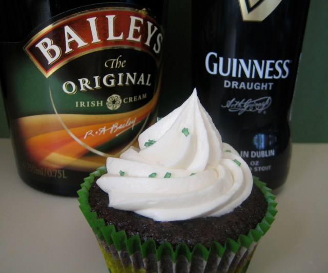 Guinness Chocolate Cupcakes With Whiskey Ganache And Bailey's Cream Cheese Icing