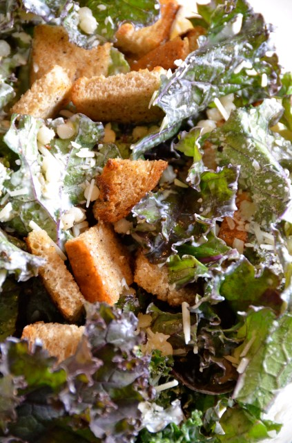 Kale Caesar With Rye Croutons And Israeli Couscous
