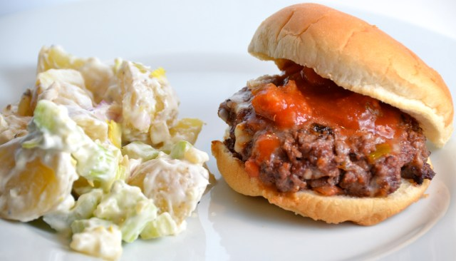 All In One Burger With Celery And Potato Salad