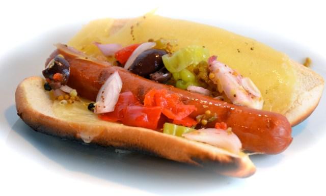 Muffuletta Hot Dog