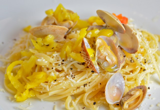 Linguine With Clams, Sherry, And Pickled Peppers