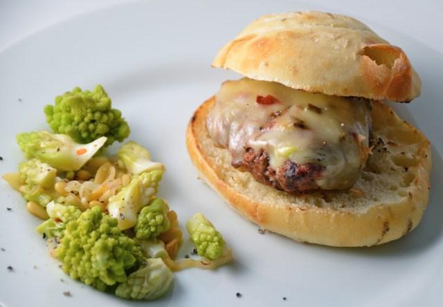 Garlic Ranch Burgers And Sautéed Romanesco Cauliflower With Pine Nuts And Garlic