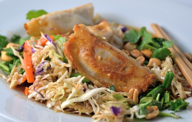 Asian Dumplings With Soy Slaw