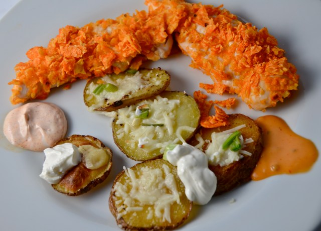 Doritos Crusted Chicken Strips And Baked Potato Crisps