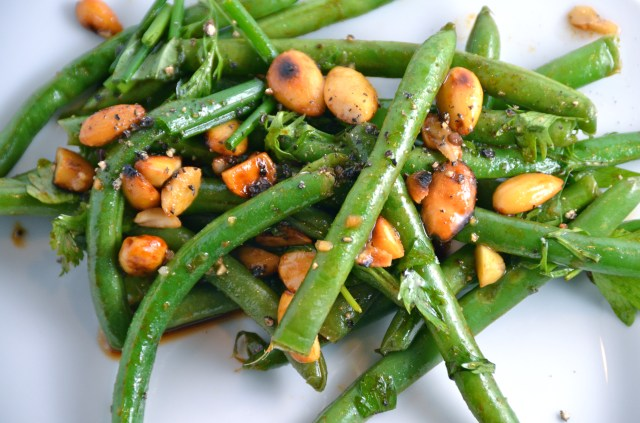Green Bean, Cilantro And Soy-Glazed Almond Salad.