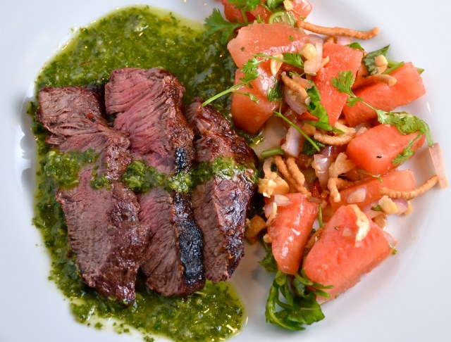 Grilled Steaks with Cilantro Sauce And Asian Watermelon Salad
