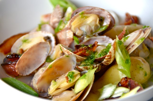 Bacon Dashi With Fingerling Potatoes And Clams