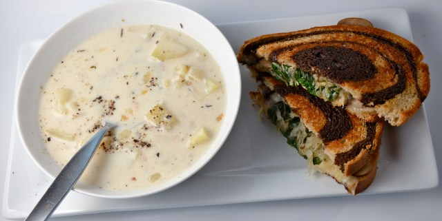 Herbed Potato Soup With Vegetarian Reubens