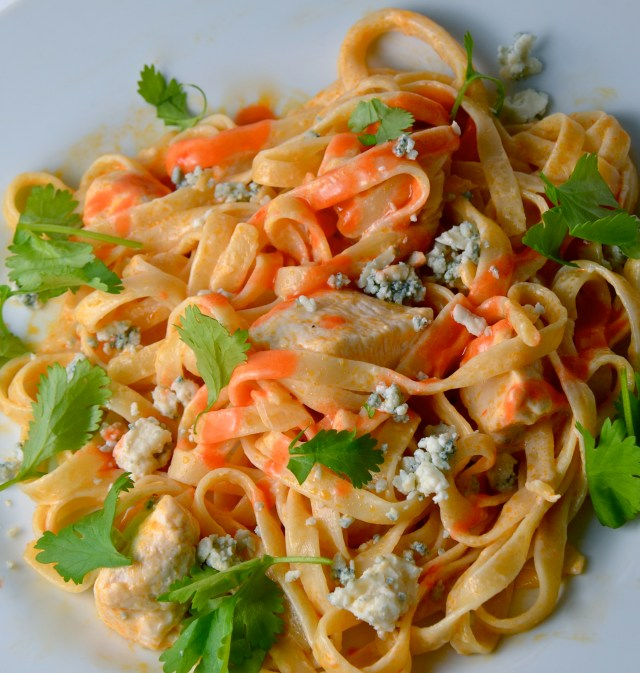 Buffalo Chicken And Blue Cheese Fettuccine Alfredo