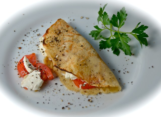 Black Pepper Crêpes With Goat Cheese And Tomatoes