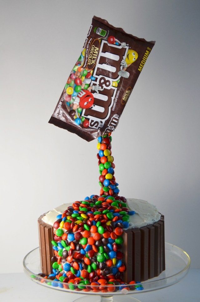 Anti-Gravity M&M Cake