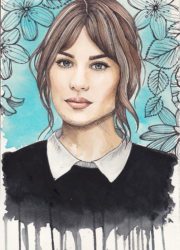 alexa chung watercolor