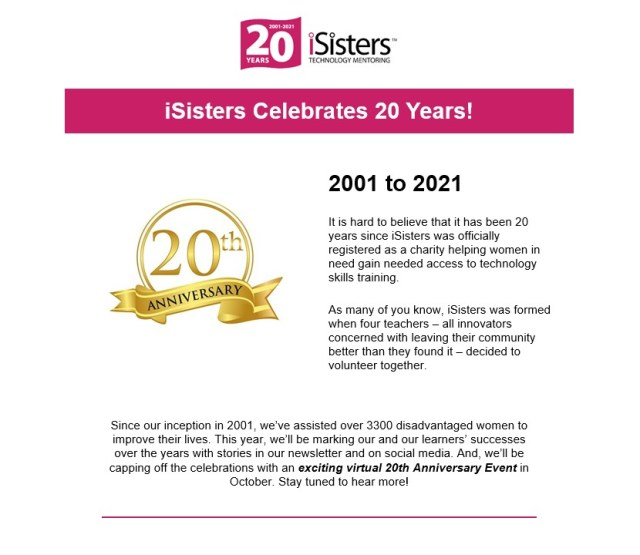 iConnect May 2021 newsletter - announcing iSisters' 20th Anniversary.
