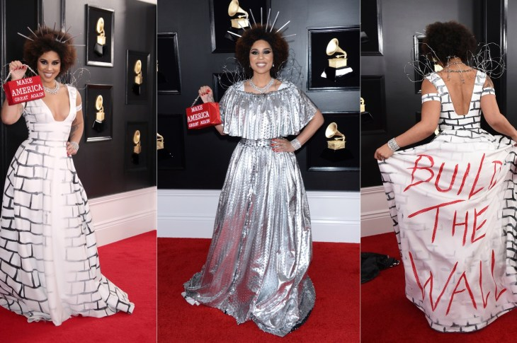 Joy Villa Returns To Grammys Red Carpet In Border Wall Gown