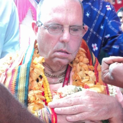 His Holiness Jayapataka Swami at The Bhumi Puja.
