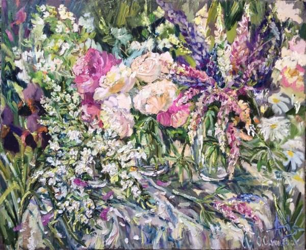 Ольга Симонова, Палитра июня (букеты цветов – пионы, жасмин, люпины)
