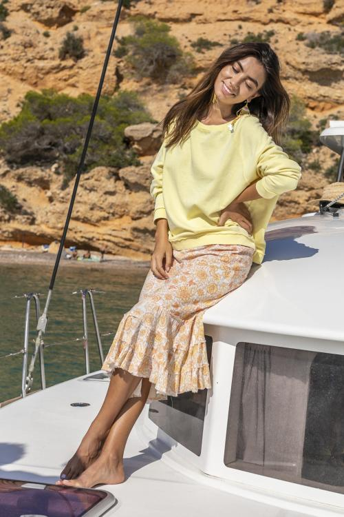 Midi Skirt Floral Printed Peach - Orange-Yellow