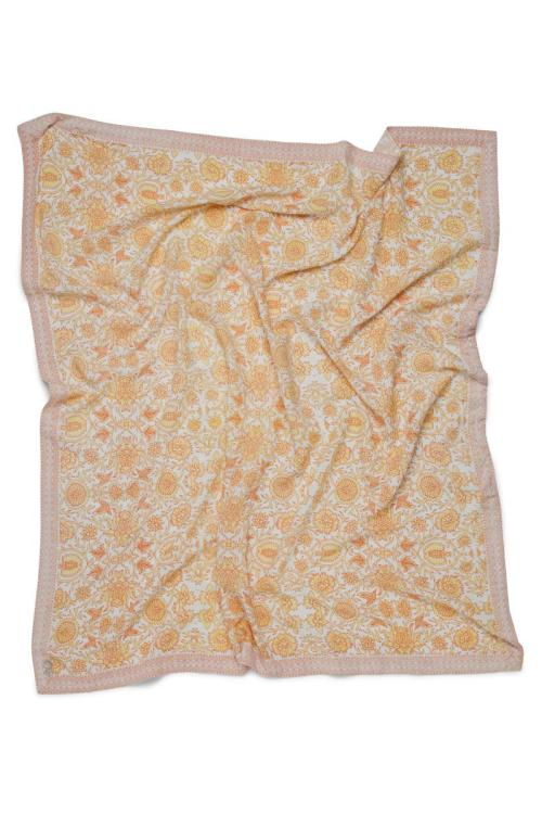 Square Scarf Floral Peach - Yellow