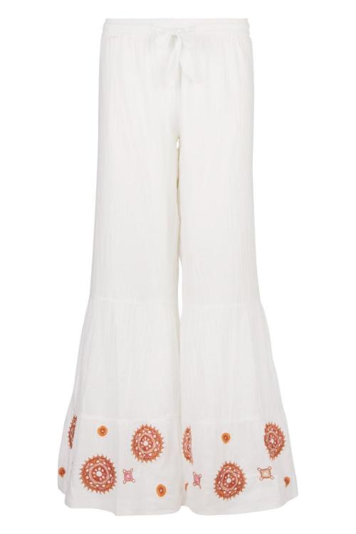Flair Pants Embroidery - White