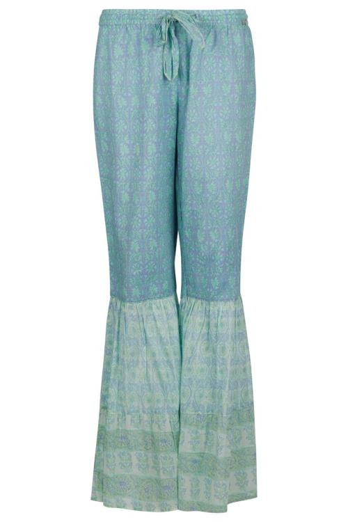Flared Pants Mint Green Batik Print - Green