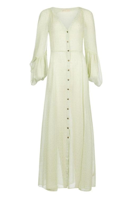 Maxi Floral Printed Dress Mint - Green