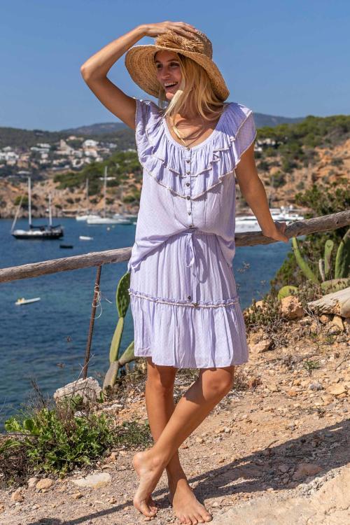 Short Skirt Ton Sur Ton Flower Printed Lila - Purple