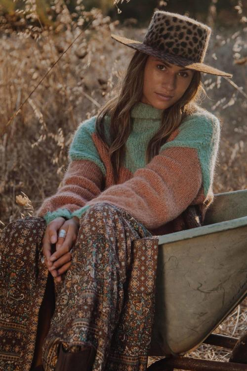 Knitted Turtleneck Sweater Multi Colored - Brown