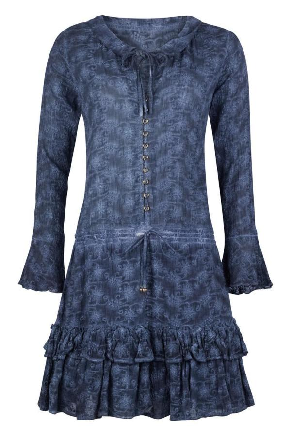 Garment Dyed Embroidered Short Dress Jeans - Blue
