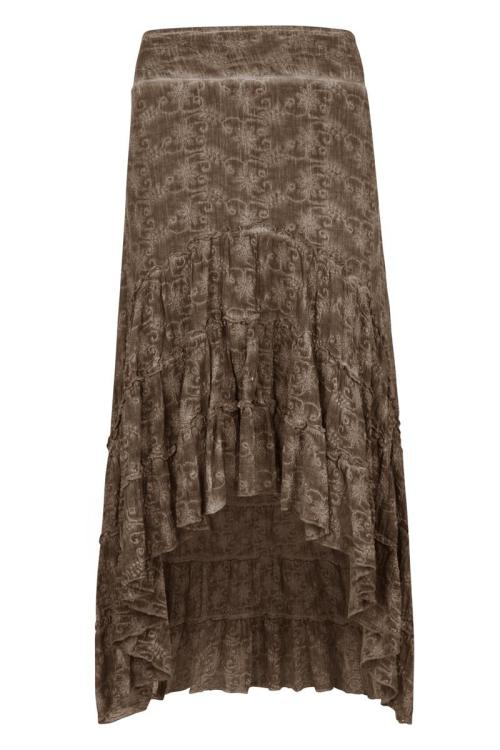 Garment Dyed Embroidered Maxi Skirt Taupe - Brown
