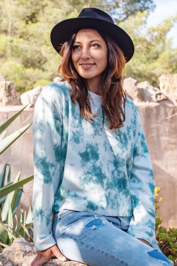 Short Tye Dye Sweater Rust - Turquoise