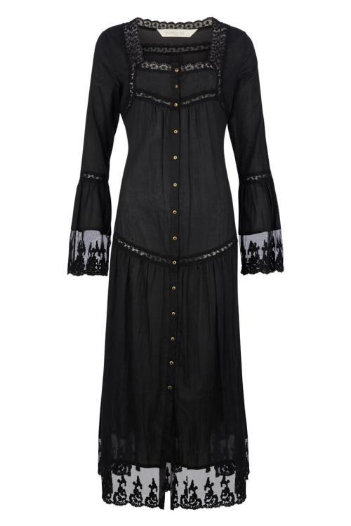 Maxi Dress Transparent Lace - Black