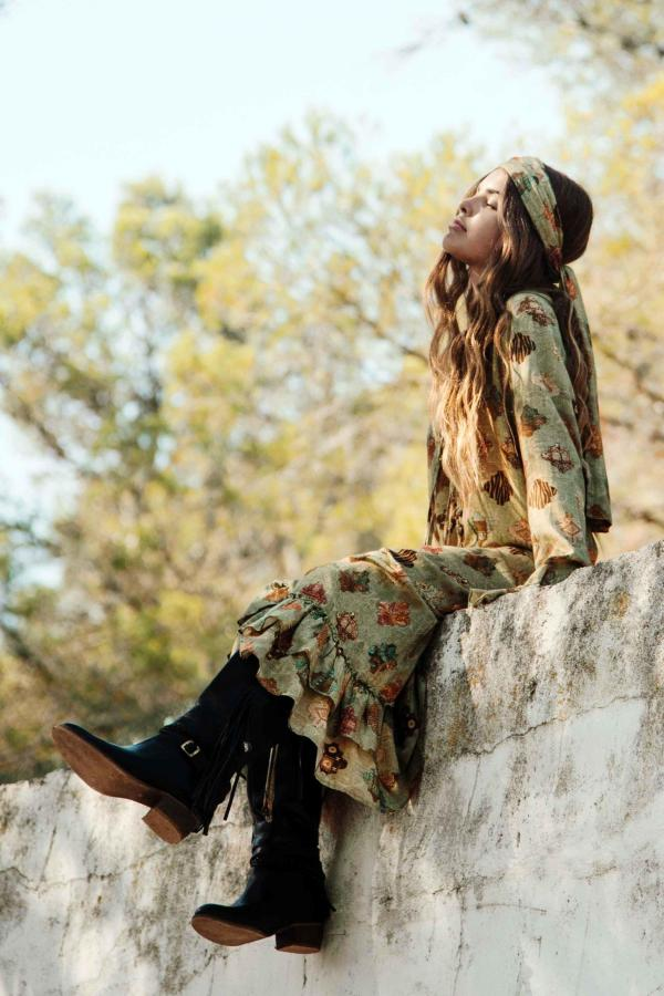 Long Dress Allover Printed Olive - Green