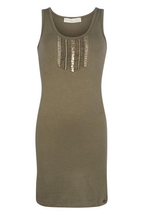 Basic Sleeveless Long Top Decorated Olive - Green