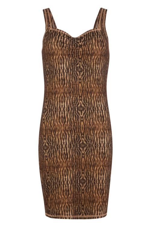 Sleeveless Long Top Animal Printed - Brown