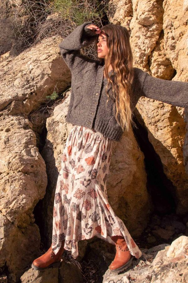 Maxi Skirt All Over Printed - Cream