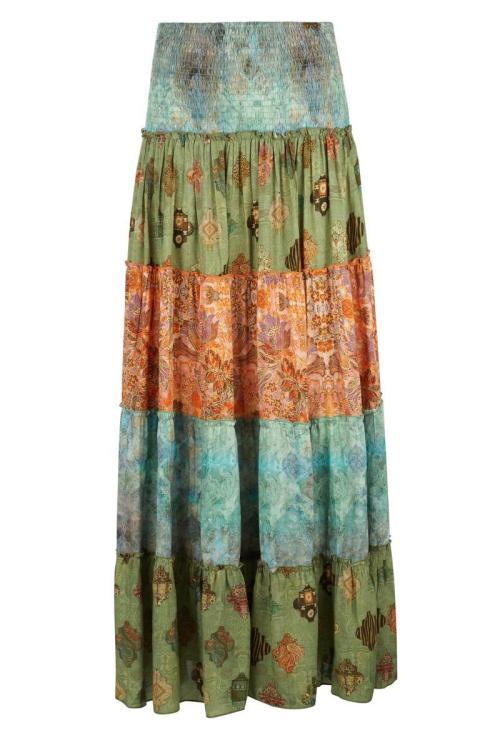 Multicolor Long Skirt Mixed Printed - Green
