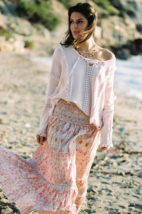 Vintage Maxi Skirt Kilim Pastel - Cream