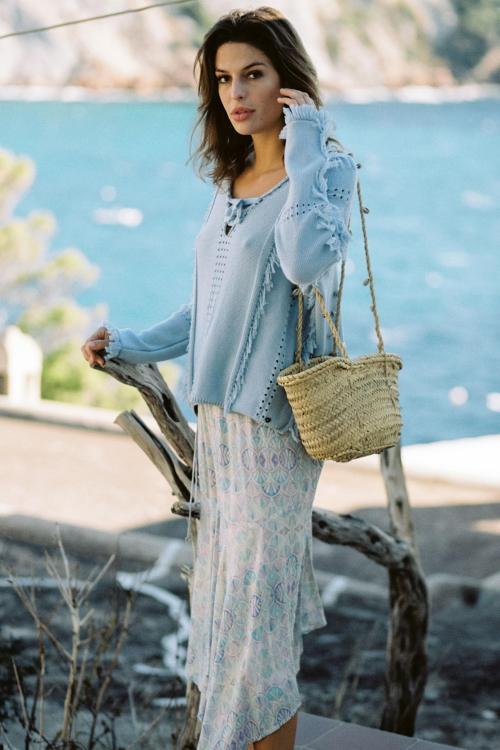 Long Skirt Washed Mosaic Print - Blue