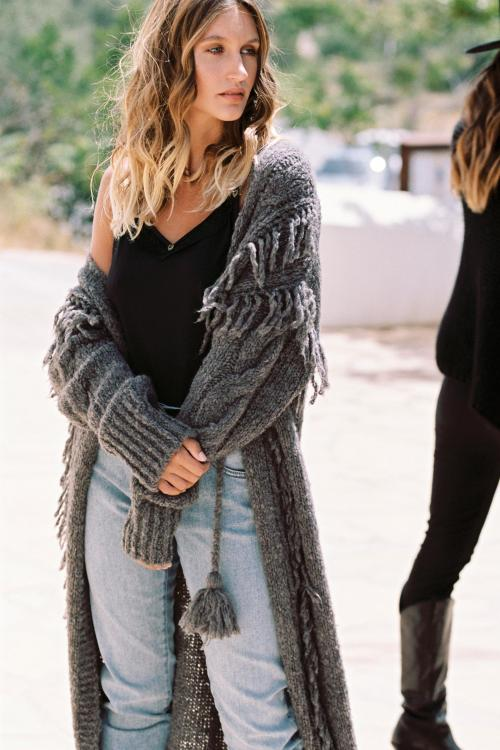 Long Knitted Cardigan Lola - Brown