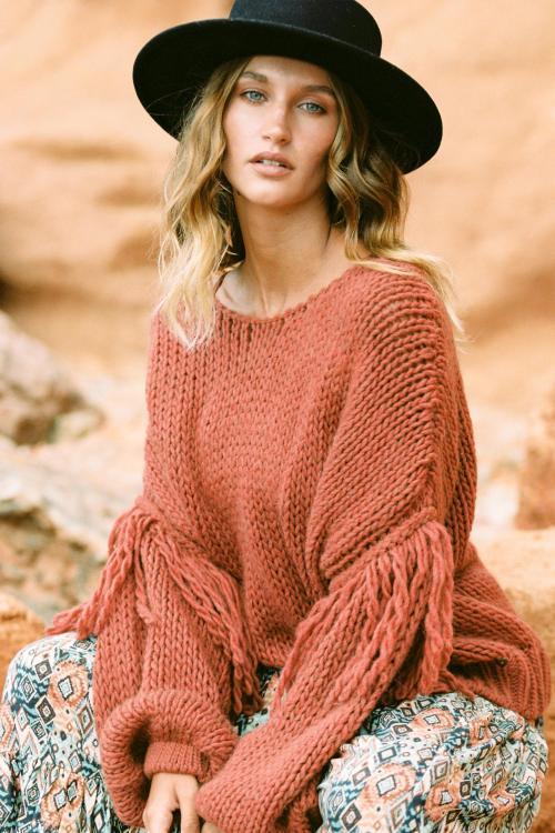 Chunky Knitted Jumper Fringles Terra - Orange