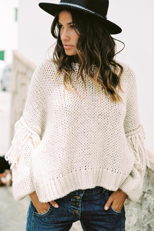 Chunky Knitted Jumper Fringles - Cream