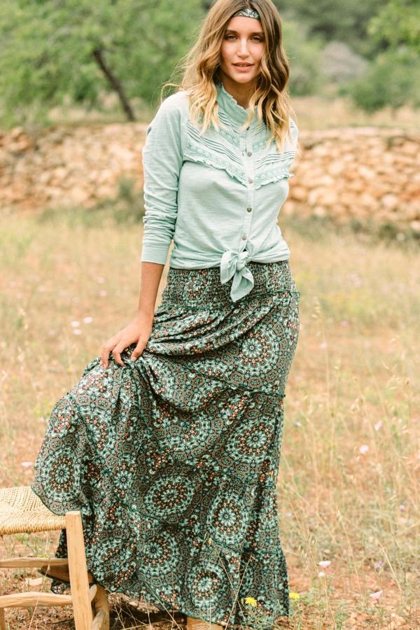 Maxi Skirt Batik Flower – Turquoise