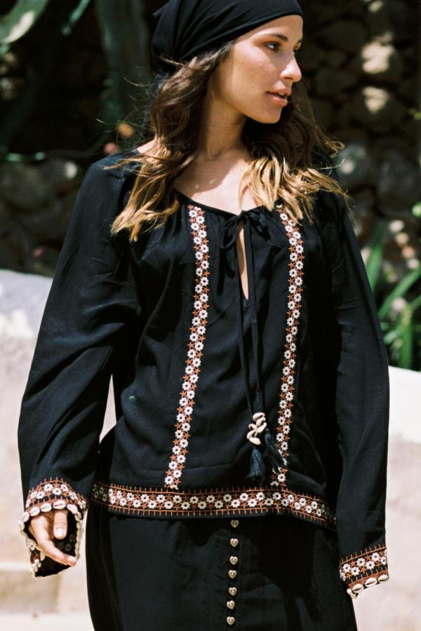 Blouse Moroccan Kilim - Black