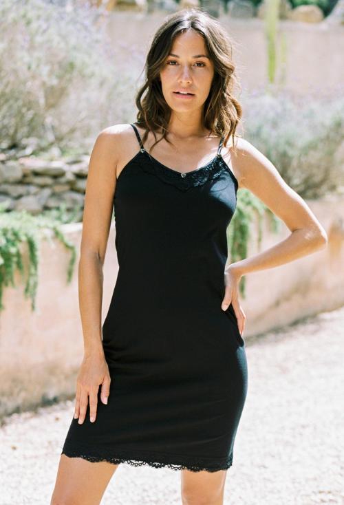 Laced Long Singlet - Black