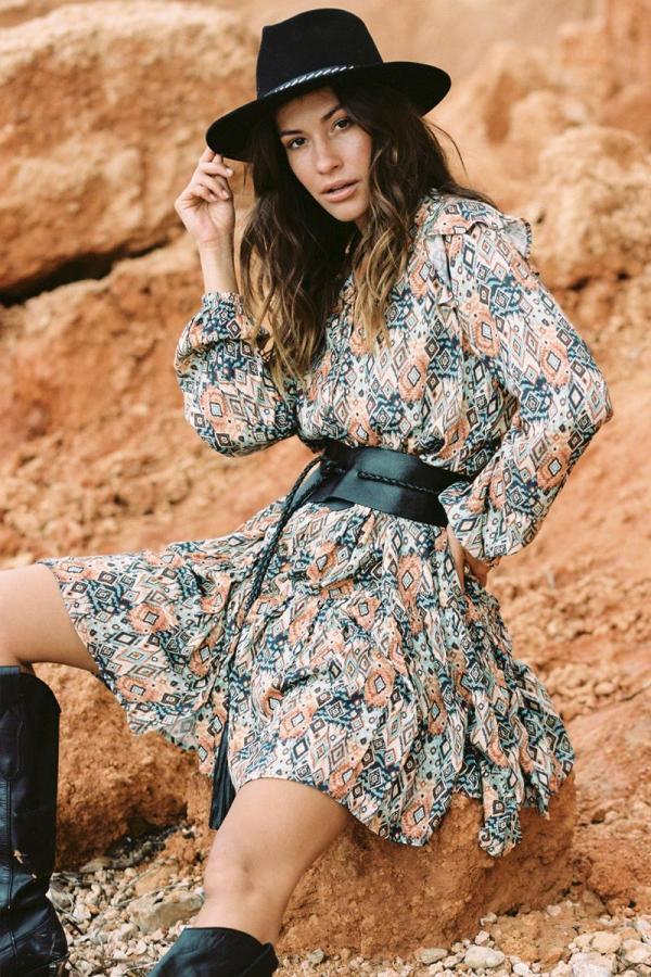 Short Dress Ikat Fantasy Print - Black