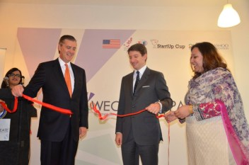 U.S. Ambassador to Pakistan Richard G. Olson and U.S. State Department Special Representative for Commercial and Business Affairs Scott Nathan inaugurate the WECREATE Center for Women Entrepreneurs in Islamabad.