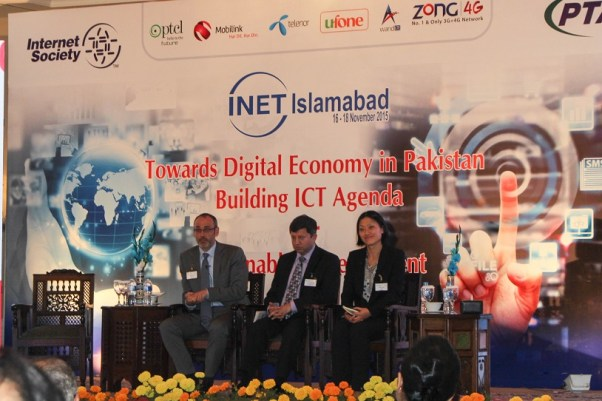 (L to R) Matthew Perkins of UNESCAP, Ismail Shah, Chairman PTA Yoonee Jeong, Research Director, speaking at the conference 'Towards Digital Economy in Pakistan - Building ICT Agenda'. Photo by Sana Jamal
