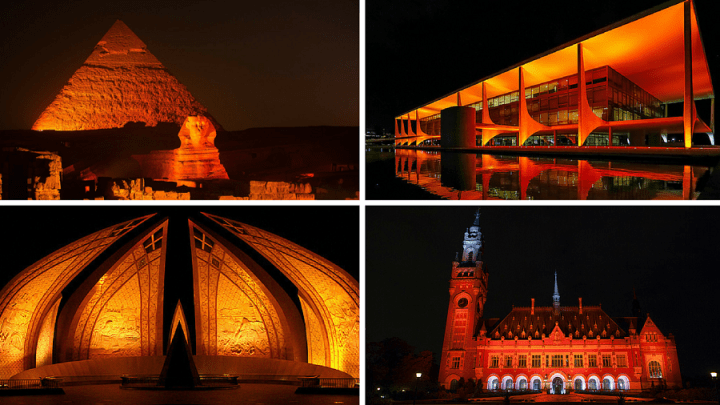 "Hundreds of iconic monuments worldwide go orange as part of a UN call to ""Orange the World"" to spur global action on violence against women and girls"