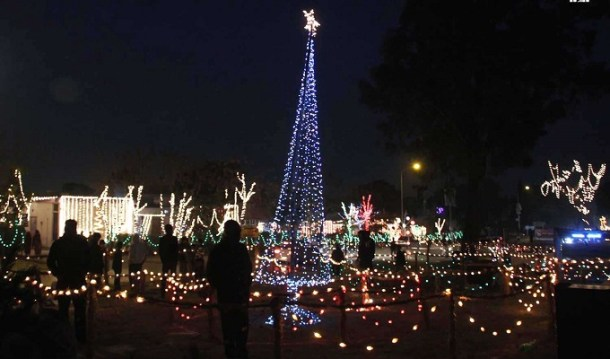 An illumined of Christmas tree near Christian locality site decorated with colorful light on the eve of Christmas celebrations at G-6. INP PHOTO