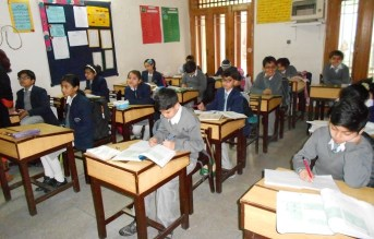 Students in classroom at a school in Islamabad, Pakistan